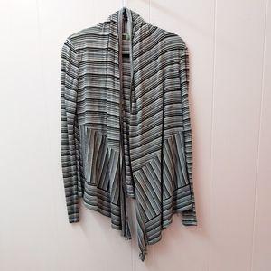 anthropologie | bordeaux striped open cardigan S